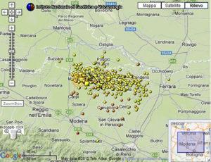 Mappa dei terremoti in Italia (LIVE)